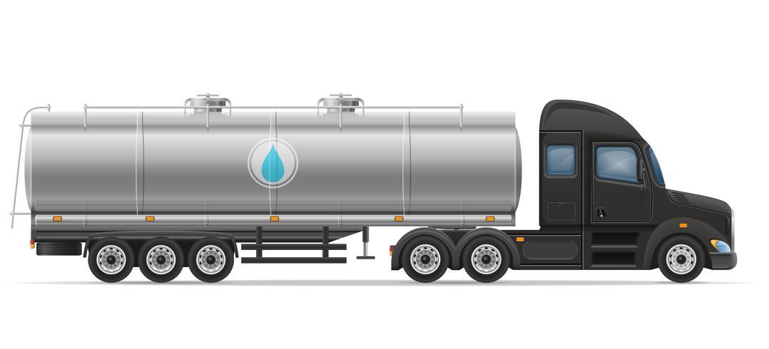 LKW-Sattelschlepperlieferung und Transport des Behälters für flüssige Vektorillustration vektor