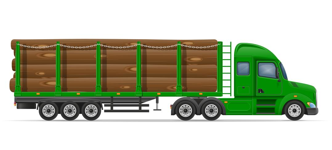 LKW-Sattelschlepperlieferung und Transport der Baumaterialkonzept-Vektorillustration vektor