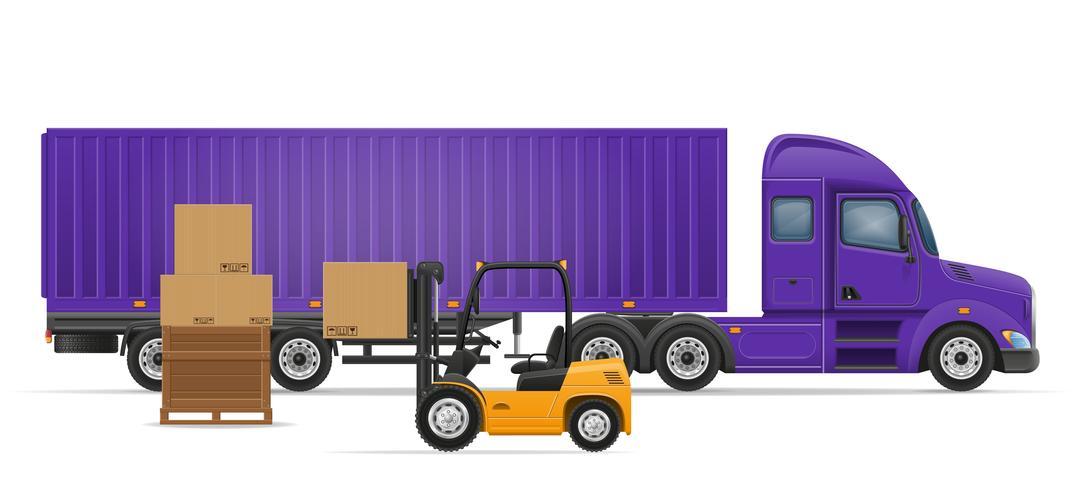 LKW-Sattelanhänger für Transport der Warenkonzept-Vektorillustration vektor