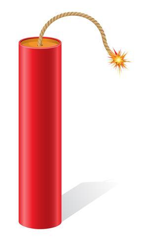 explosives Dynamit mit einer brennenden Sicherung Vektor-Illustration vektor