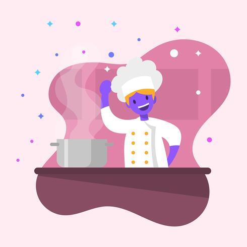 Flache süße Chef-Vektor-Illustration vektor
