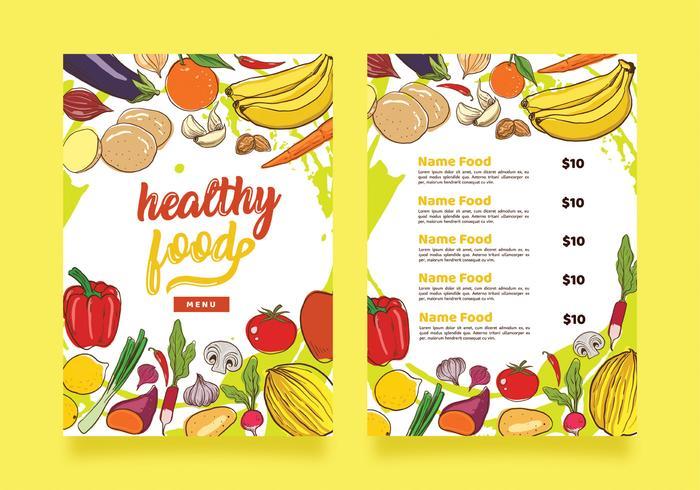 Gesundes Lebensmittelmenü-Schablonen-Vektor-Design vektor