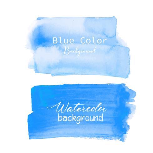 Blå pensel stroke akvarell på vit bakgrund. Vektor illustration