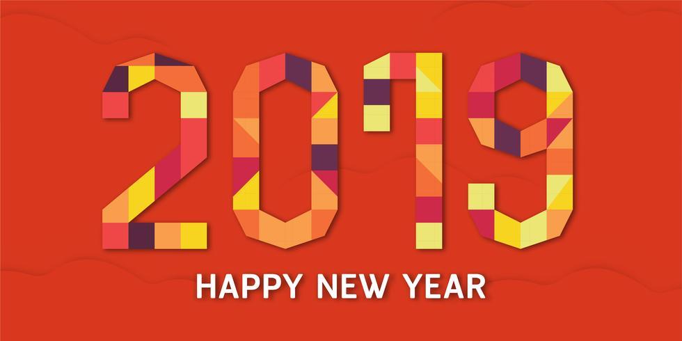 Guten Rutsch ins Neue Jahr 2019 mit shodow der Wolke auf rotem Hintergrund. Vector Illustration mit bunter Zahl im Papierschnitt und im digitalen Handwerk.