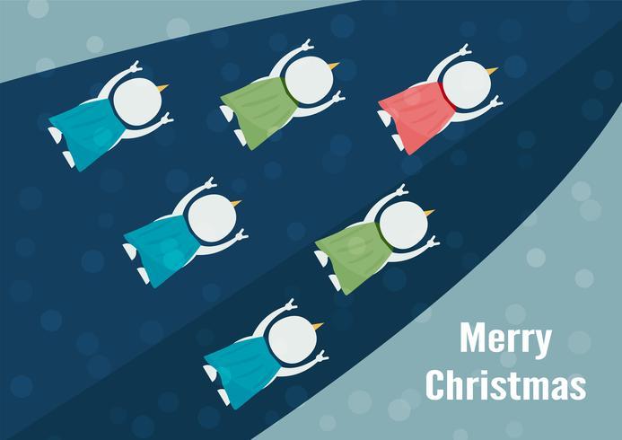 Führung des Schneemanns mit Freunden auf blauem Hintergrund für frohe Weihnachten am 25. Dezember. Wir gehen zusammen. vektor