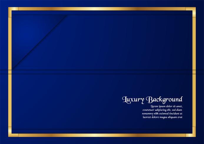Abstrakt blå bakgrund i premiumkoncept med guldgräns. Malldesign för omslag, företagspresentation, webbbanner, bröllopsinbjudan och lyxförpackning. vektor