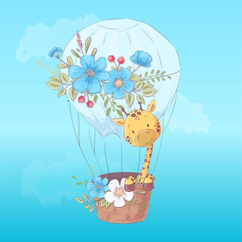 Illustration vykort eller fetisch för ett barnrum - söt giraff i en ballong, vektor illustration i tecknad stil
