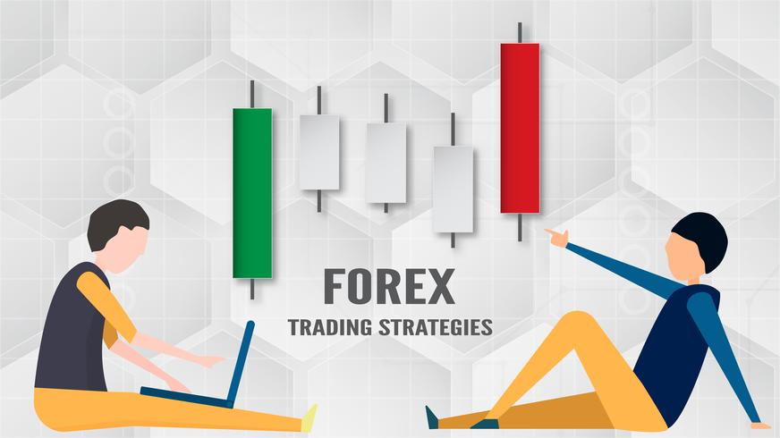 Forex trading strategi koncept i pappersskärning och hantverk för företag, näringsidkare, Investeringar, marknadsföring. Vektor illustration på abstrakt teknik bacgkround i vitt och grått.