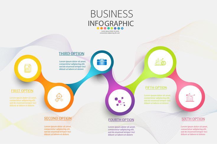Design Business Vorlage 6 Optionen oder Schritte Infografik Diagrammelement vektor