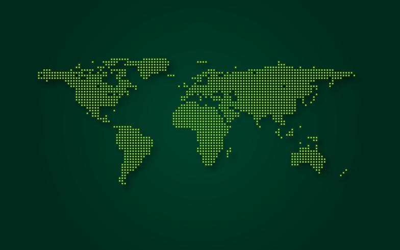 Futuristisk grön världskarta abstrakt teknik bakgrund. Digital transformation och stort datakoncept. Business quantum internet nätverkskommunikation koncept. Vektor illustration