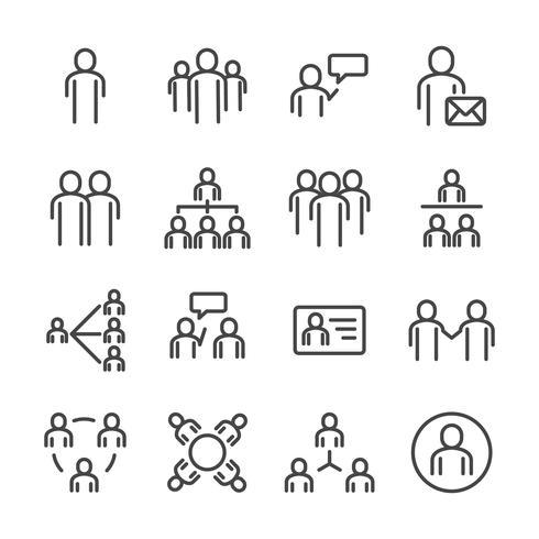 Människor och social ikonuppsättning. Tunn linje ikon tema. Symboler för översiktstreckssymboler. Vit isolerad bakgrund. Illustration vektor. vektor