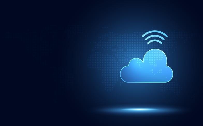 Futuristische blaue Wolke mit abstraktem Technologiehintergrund der digitalen Transformation des drahtlosen Signals. Künstliche Intelligenz und Big Data-Konzept. Industrie 4.0 und 5g WiFi Datenspeicherung Kommunikation vektor