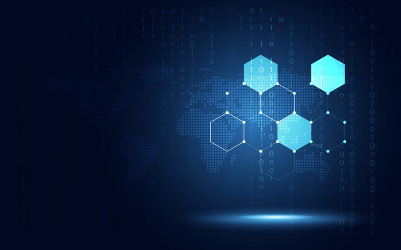 Futuristischer blauer Hexagonbienenwabenzusammenfassungs-Technologiehintergrund. Digitale Transformation der künstlichen Intelligenz und Big Data-Konzept. Geschäftsquanten-Internet-Kommunikationskonzept vektor