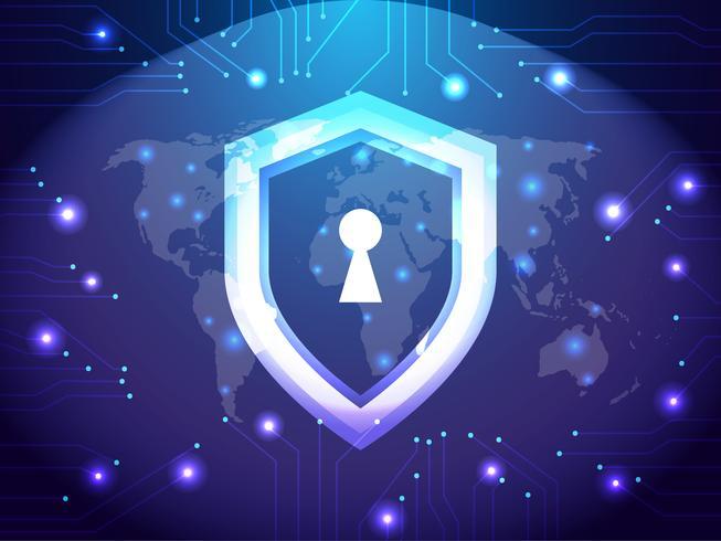 Cyber Security Guard Network. Säkerhet och internetkoncept. Skydd skydd skydd tema vektor