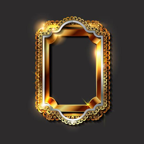 Goldene Rahmen und Grenzen der dekorativen Weinlese vektor