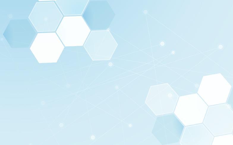 Medizinischer abstrakter Hintergrund. Polygon- und Punktlinie Grafikdesignelement. Blauer und weißer Ton für futuristisches Tapeten-Abdeckungskonzept der modernen Wissenschaft. Digitales Netz des Gesundheitswesenschablonenthemas. vektor