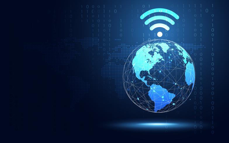 Futuristische blaue Erde mit Wifi-Internet-Zusammenfassungs-Technologiehintergrund. Digitale Transformation der künstlichen Intelligenz und Big Data-Konzept. Geschäftsquanten-Internet-Kommunikationskonzept vektor