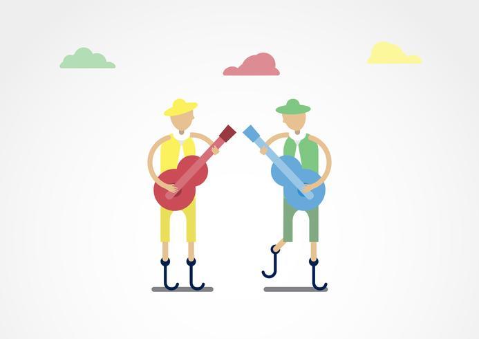 Tecken design av inaktiverad person som är musiker med färgglad tyg isolerad på grå bakgrund. vektor
