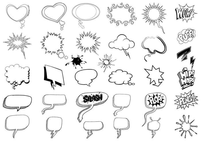 Skizzenhaften Gedankenblasen-Vektor-Pack vektor