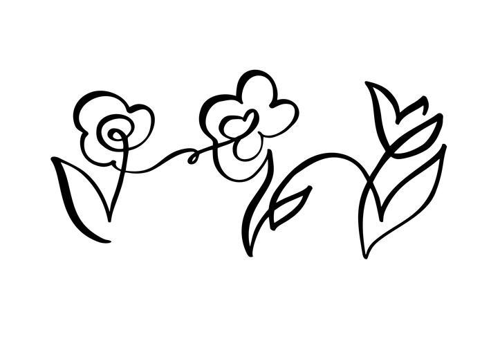 Ununterbrochene Linie Hand, die kalligraphische Blumenkonzepthochzeit des Logovektors drei zeichnet. Skandinavisches Frühlingsblumenmuster-Ikonenelement in der minimalen Art. Schwarz und weiß vektor