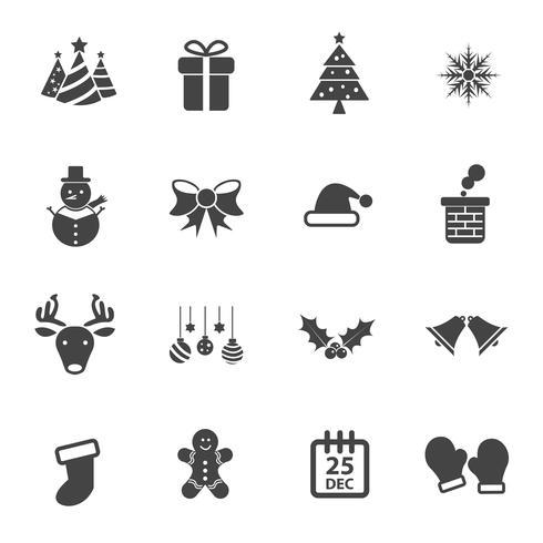 Julparty ikon vektor uppsättning, Flat vektor design, Xmas och Gott nytt år koncept