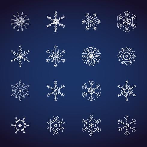 Winter-Schneeflockenikonen eingestellt. Flaches Design-Ikonen. Illustrationsvektoren für Weihnachten und Neujahr. Hand gezeichnete Zusammenfassung und Linie. Gefrorene Party und Schnee Event Thema Sammlungssatz. vektor