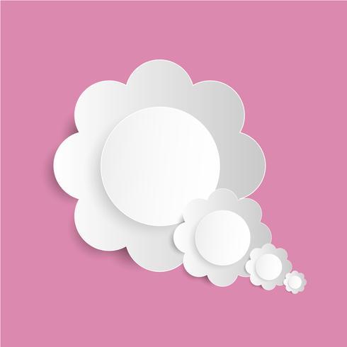 Blumenpapier schnitt auf den rosa Hintergrund, Traumwolke vektor