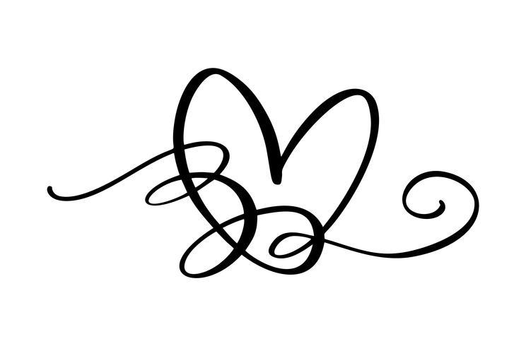 Hand gezeichnetes Herzliebeszeichen. Romantischer Kalligraphievektor des Valentinstags. Concepn-Ikonensymbol für T-Shirt, Grußkarte, Plakathochzeit. Flache Elementillustration des Designs vektor