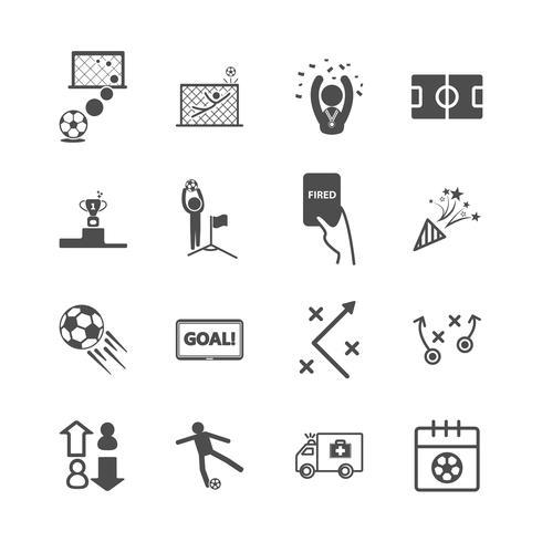 Fußball- und Fußballikonen. Sportspiel und Aktivitätskonzept. Glyphe und Konturen Strich Symbole Thema. Vektorillustrationsgrafikdesign-Sammlungssatz vektor