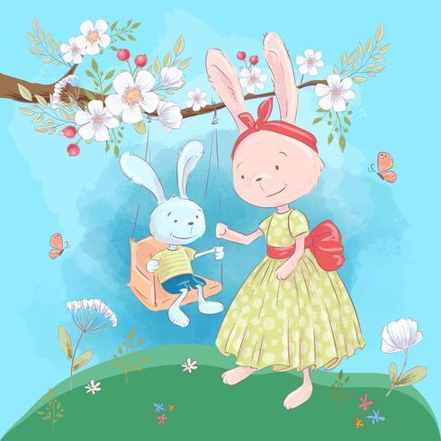 Illustration vykort eller fetisch för ett barnrum - söt kaniner mamma och son på en gunga med blommor, vektor illustration i tecknad stil