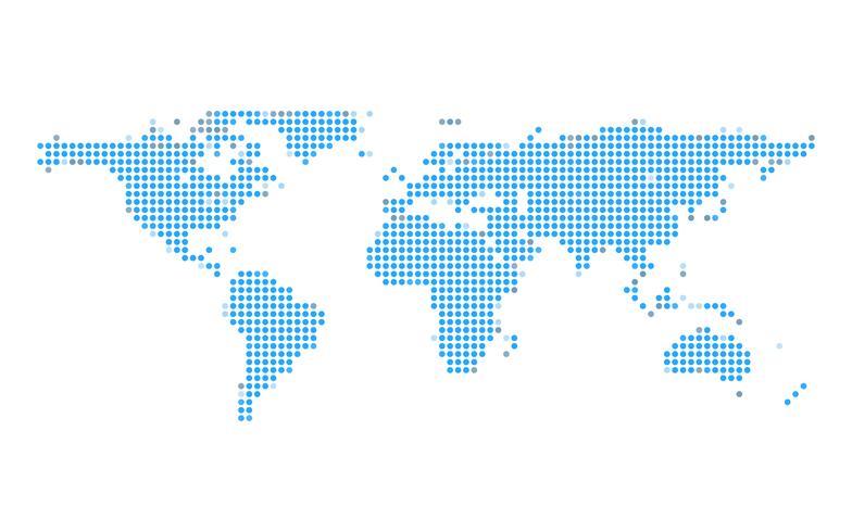 Blå jord dot karta på vit isolerad bakgrund. Teknik och global kommunikationskoncept. Teknik och företagstema. vektor