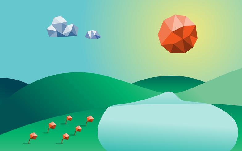 Vårsäsong Låg poly bakgrund. Bergflod och moln och blommor i komponent. Natur och landskapskoncept. Abstrakt och bakgrundskoncept. Miljö och tropiskt klimat tema vektor
