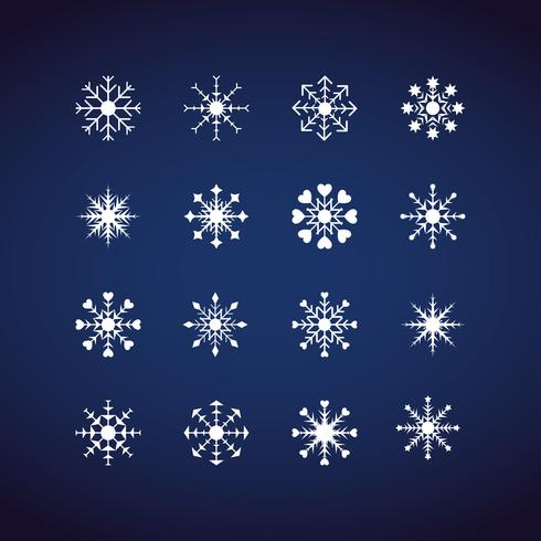 Winter-Schneeflockenikonen eingestellt. Flaches Design-Ikonen. Illustrationsvektoren für Weihnachten und Neujahr. Hand gezeichnete Zusammenfassung und Linie. vektor