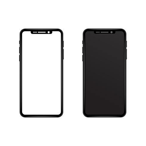 Schwarzes graues dünnes Telefon mit weißer und schwarzer Tapete des leeren Bildschirms. Realistischer Vektorillustrationsspott oben. Neues Smartphone-Modell. modernes futuristisches Design. Technologie- und Kommunikationskonzept. vektor