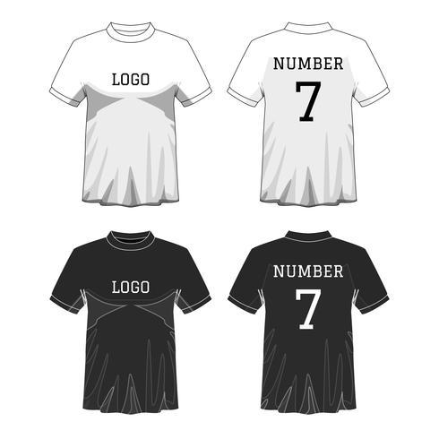 Sport Mäns t-shirt med kort ärm fram och bak. Svartvit eller Design redigerbar färg. Mock up av sportkläder koncept. Sport och mode tema. EP10 Vektor illustration.