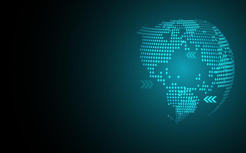Blauer abstrakter globaler Punktkartenhintergrund. Radiale Steigung. Tapete des modernen Designs für Berichts- und Projektpräsentationsschablone. Vektor-Illustration Grafik. Punkt- und Kreisform. Technologie abstrakt vektor