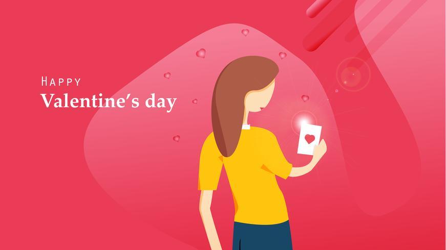 Lycklig Alla hjärtans dag platta design. Kvinna tittar på hjärtat vykort från sin pojkvän. Grafisk designkoncept. Vektor illustration