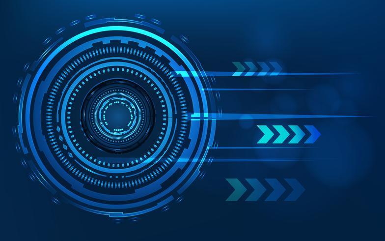 Blå teknik cirkel och dator abstrakt bakgrund med blå och binär kod matris. Företag och anslutning. Futuristic and Industry 4.0 koncept. Internet cyber och nätverk tema. HUD-gränssnitt vektor