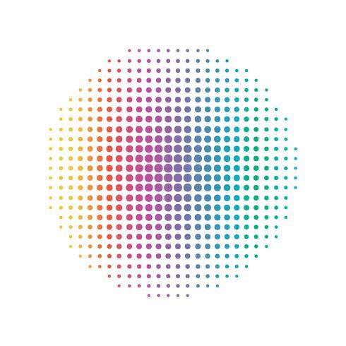 Rainbow cirkulär punktlinje. Abstrakt och färgstarkt koncept. Halvton Illustration vektor