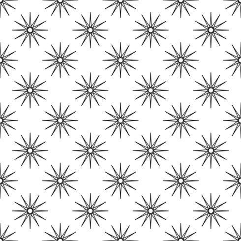 Sömlös mönster bakgrund. Abstrakt och klassiskt koncept. Geometrisk kreativ design snyggt tema. Illustration vektor. Svartvit färg. Snowflake is och Glitter stjärnform för juldagen vektor
