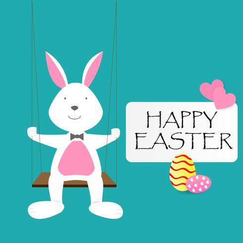 Glad påskdagen hälsning text med kanin, ägg och rosa hjärtan vektor