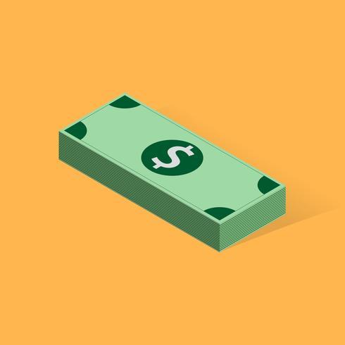 Batch av sedlar på färgbakgrunden, vektor