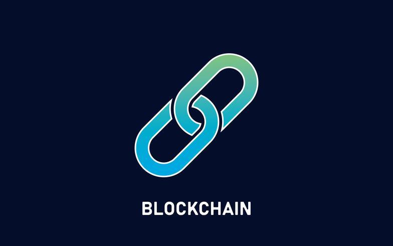 Blockchain-logotyp på mörk svart bakgrund. Abstrakt symbol för länkad kedja och med text. Modern teknik koncept. Vektor illustration för företagslogotyp.