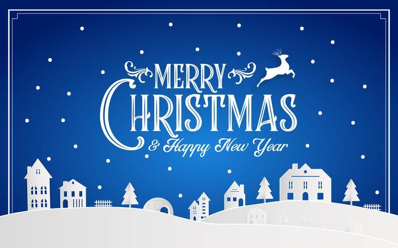 God jul och gott nytt år 2019 av snöig hemstad med typografi teckensnittsmeddelande. Blå färg Papper konst och digitalt hantverk Illustration vektor firar inbjudan tapet kort. Semester vinter