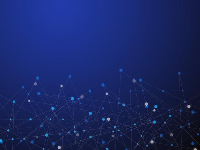 Blauer abstrakter Hintergrund der Technologie und der Wissenschaft mit blauer und weißer Linie Punkt. Geschäfts- und Verbindungskonzept. Futuristisches und Industrie 4.0 Konzept. Internet-Cyber-Datenverbindung und Netzwerkthema. vektor