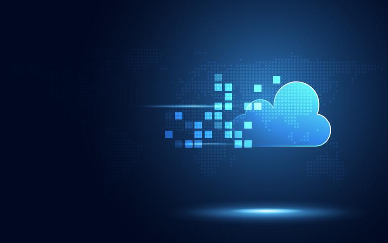 Futuristisk blå moln med pixel digital transformation abstrakt ny teknik bakgrund. Konstgjord intelligens och stort datakoncept. Business industry 4.0 och 5g wifi datalagring kommunikation. vektor