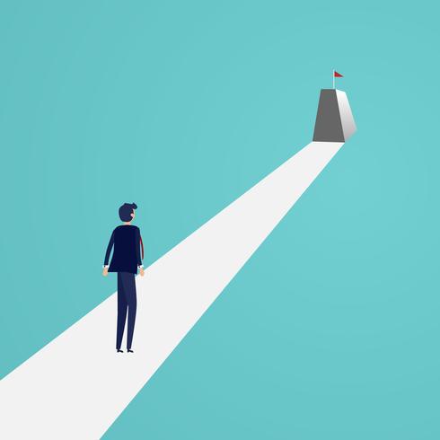 Affärsman ser röd flagga på toppen av berget. Affärssucces och Vision koncept. Bra attityd och prestationskoncept. Vektor illustration