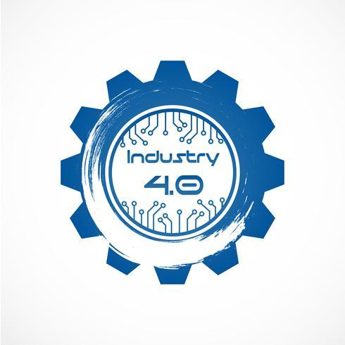 Industrie 4.0 im Involute-Getriebe mit Punktliniensystem. Produktionskonzept für Business und Automation. Cyber Physical und Feedback-Kontrolle. Futuristisch vom Weltnachrichtendienst-Netzthema. Internet der Dinge. vektor