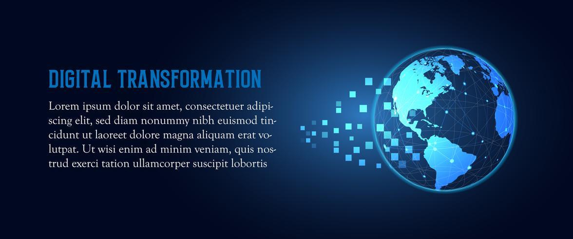 Futuristisk förändring av abstrakt teknologi för blå jord digital transformation. Konstgjord intelligens och stora data. Business tillväxt dator och investeringar industrin 4,0 Vektor illustration