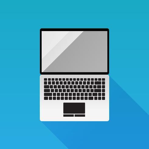 Design-Vektorikone des Laptops flache auf blauem Hintergrund vektor